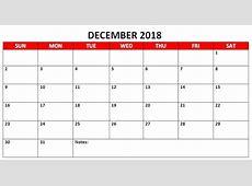 December 2018 Calendar Excel Calendar Template Letter