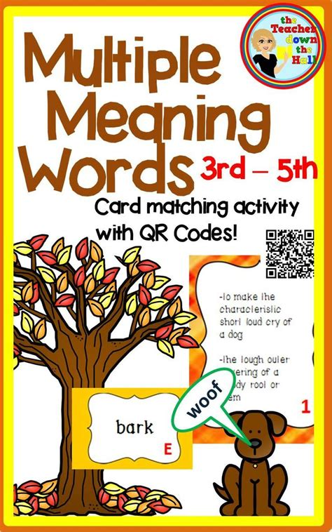 multiple meaning words task cards  qr codes