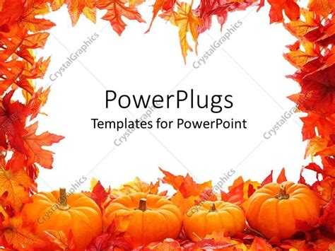 fall templates powerpoint template fall autumn leaf border with white background and pumpkins 11633