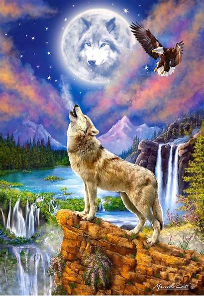 Night Jigsaw Wolf Puzzle Wolves 1500 Puzzles