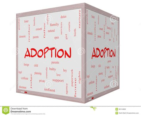Adoption Word Cloud Concept 3d Cube Whiteboard Stock