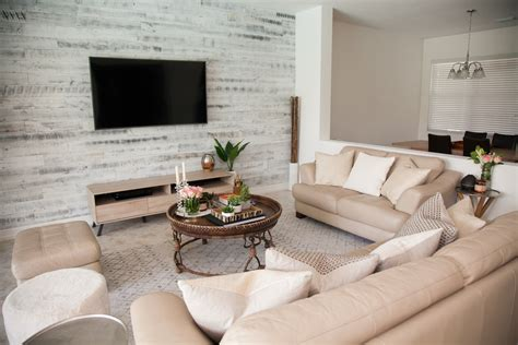 Modern Rustic Chic Living Room Stikwood Accent Wall
