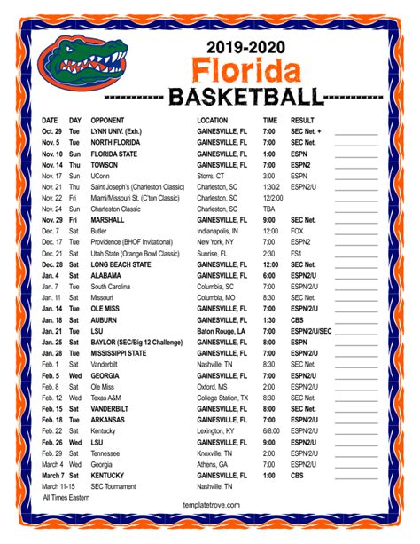printable   florida gators basketball schedule