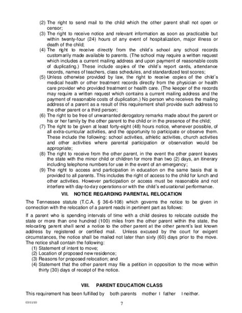 tennessee parenting plan form sle permanent parenting plan order tennessee free