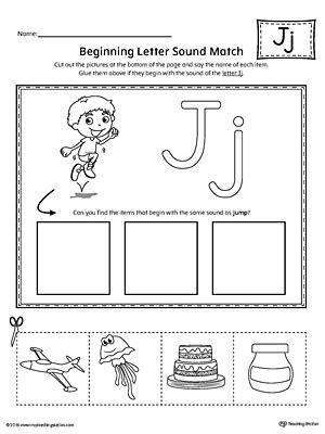 letter j scramble worksheet myteachingstation 807 | Letter J Beginning Sound Picture Match Worksheet
