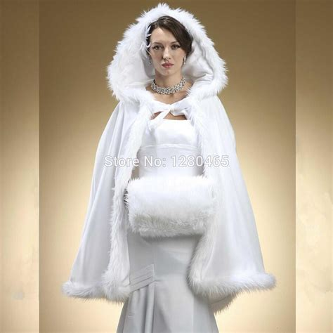 2016 Faux Fur Bridal Bolero Hooded Bridal Cape Wedding