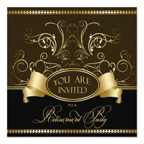 elegant retirement party invitation brown gold bl zazzlecom