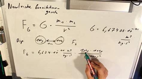 newtonsche gravitationsgesetz beispiel youtube