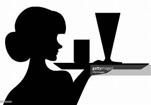 Silhouette Of Waitress With Tray Stock Illustration ...