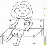 Coloring Bench Pagina Meisjeszitting Kleurende Bank Een Coloritura Ragazza Banco Siede Che Ad Si Sitting Template Banshee sketch template