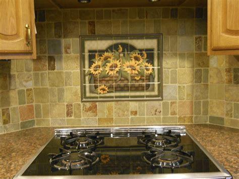 kitchen backsplash ideas sunflower basket tile mural