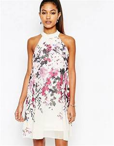 Lipsy lipsy high neck babydoll dress in all over floral for Robe fleurie asos