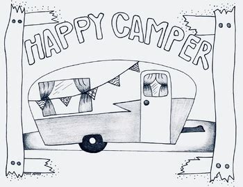 happy camper camp theme coloring page camping fall   jenny designs