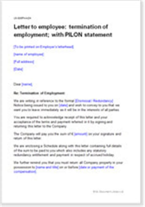 model letter terminating employment  pilon statement