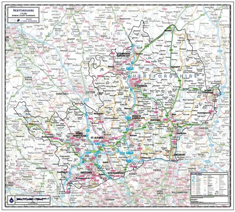 Hertfordshire County Wall Map - Paper, Laminated or ...