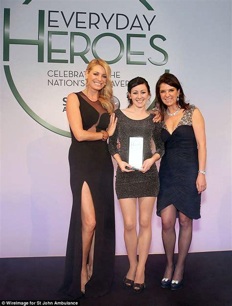 Tess Daly wearing designer black dress at Everyday Heroes 2014