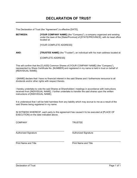 trust agreement template uk declaration of trust template sle form biztree