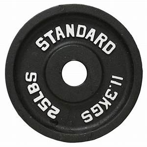 Weight Plates New Usa Sports 25 Lbs Black Olympic Barbell Cast Iron Bo