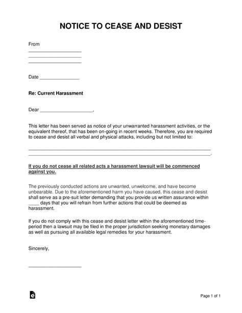 Cease And Desist Letter Template Free Harassment Cease And Desist Letter Template Word
