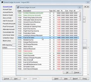 Standard Chart Of Accounts Example Datahawk Software General Ledger Account Options
