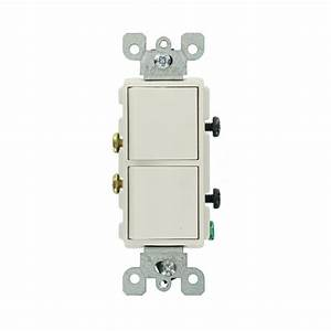 Leviton Decora 15 Amp Single Pole Dual Switch  White