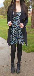 Navy coat floral print dress black tights and booties | tights | Pinterest | Coats Floral and ...