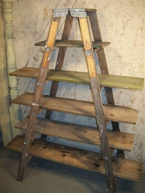 vintage ladder shelf wooden shelving unit with vintage ladders 6 shelves 3231