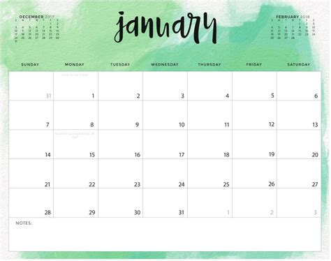 calendar colors color pattern january 2018 printable calendar