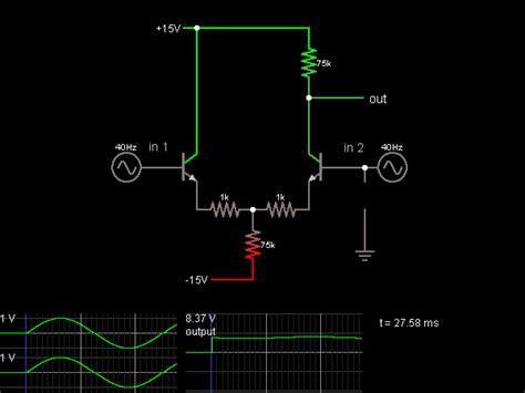 Differential Amplifier Common Mode Input Circuit Simulator