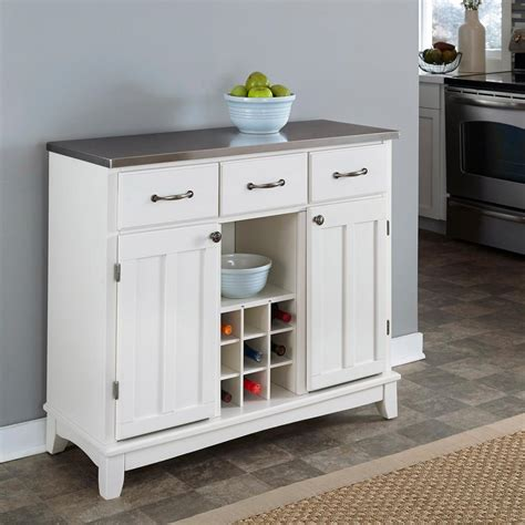 Sideboards And Servers by Home Styles White And Stainless Steel Buffet With Wine