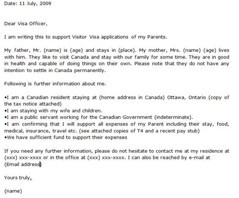 Letter Of Invitation To Canada Sample For Friend