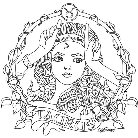 taurus zodiac beauty colouring page coloring collections
