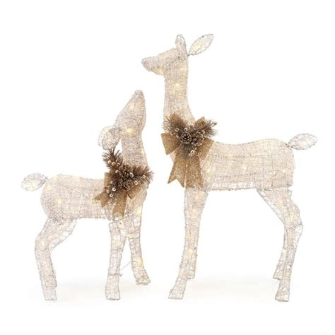 home accents holiday   led lighted white pvc deer