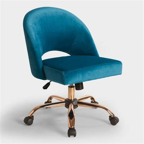Blue Velvet Cosmo Upholstered Office Chair   World Market