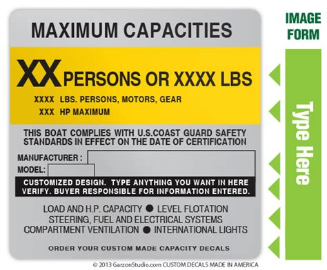 Boat Capacity Rules by Maximum Capacities Plate Decal 4x4 Type A Johnsondecals