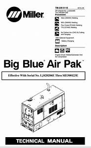 Miller Big Blue Air Pak Technical Manual Effective With