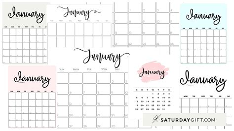 cute  printable january  calendar saturdaygift