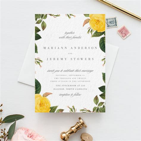 Botanical Floral Wedding Invitation Yellow Flower