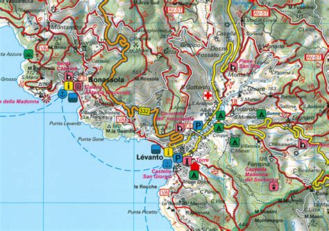 Cing Porto Santa Margherita by Wandelkaart 131 Wk Cinque Terre Portofino Freytag