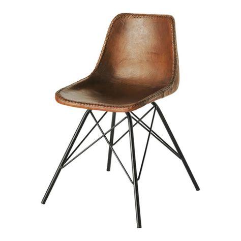 chaise cuir vintage chaise indus en cuir et métal marron austerlitz more