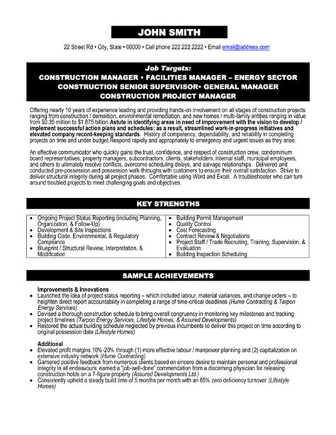 construction manager resume template project manager resume template premium resume sles exle