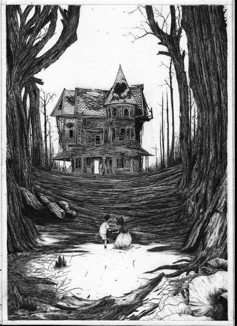 Hansel and Gretel black and white illustration by Zakuro Aoyama. in 2019 | Black, white