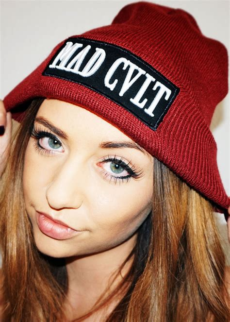 maroon mad cult logo beanie sold out