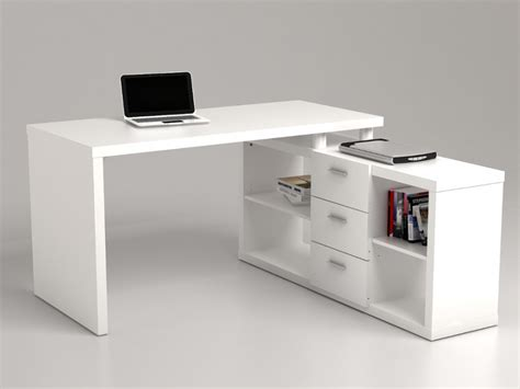 blanc au bureau bureau d 39 angle aldric iii 3 tiroirs 2 étagères blanc