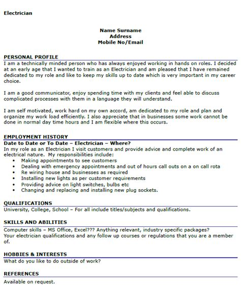 Curriculum Vitae Format For Electrician by Electrician Cv Exle Icover Org Uk