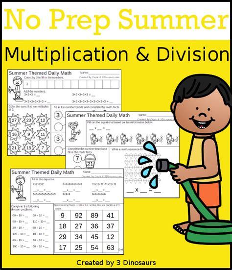 Summer Themed No Prep Math Printables  3 Dinosaurs