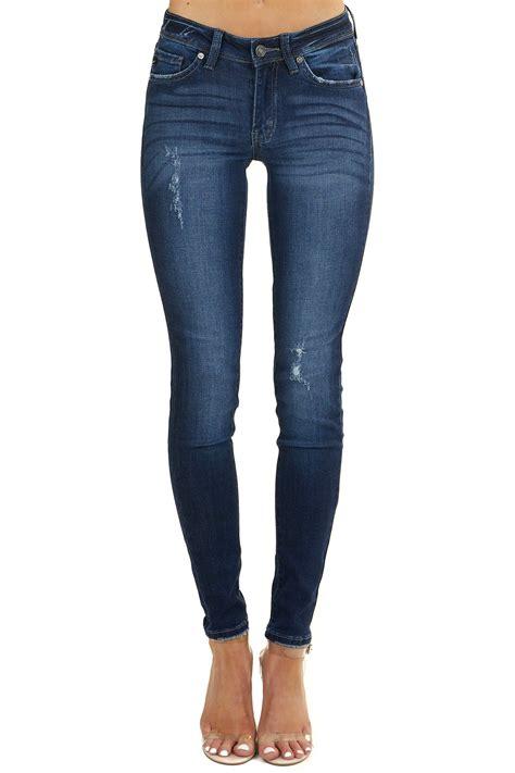 Dark Denim Lightly Distressed Skinny Jeans | Lime Lush