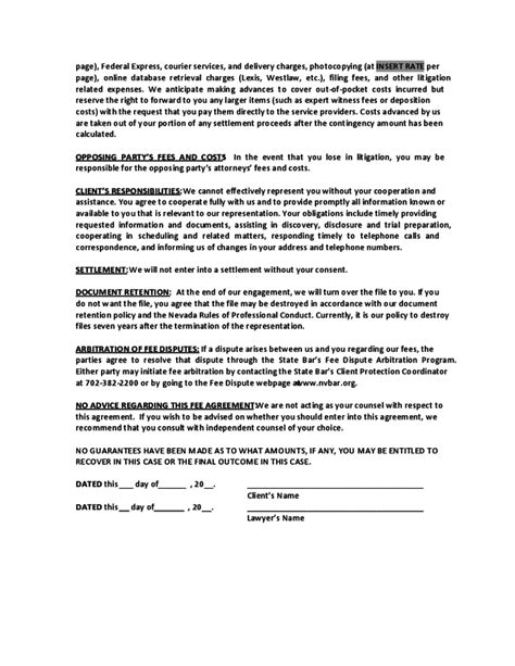 sample contingent fee agreement nevada