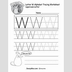 Uppercase Letter W Tracing Worksheet  Doozy Moo