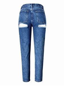 Street Style Women Sexy Back Hole High Waist Ripped Skinny Jeans at Banggood